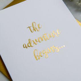 The Adventure Begins Wedding Card