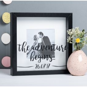 Personalised Adventure Begins Wedding Photo Frame