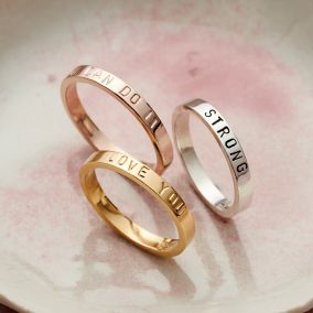 Personalised Slim Script Ring