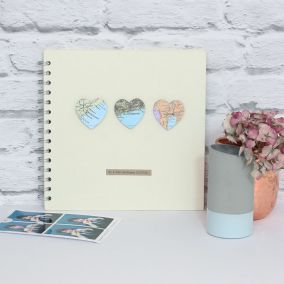 Personalised Three Vintage Map Hearts Ivory Book