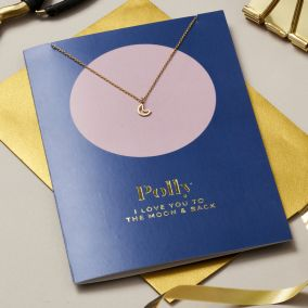Personalised 'Moon And Back' Card & Necklace Set
