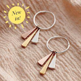 Mixed Gold Sunbeam Hoop Earrings