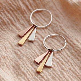 Mixed Gold Sunbeam Hoop Earrings