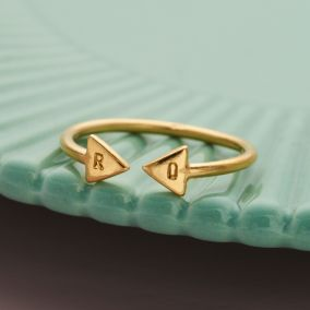 Personalised Luxe Triangle Open Ring