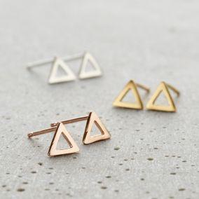 Fine Triangle Stud Earrings