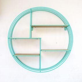 Round Turquoise and Copper Display Shelf
