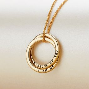 Personalised Two Ring Russian Gold Necklace