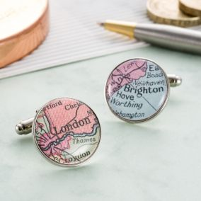 Personalised Circular Vintage Map Cufflinks