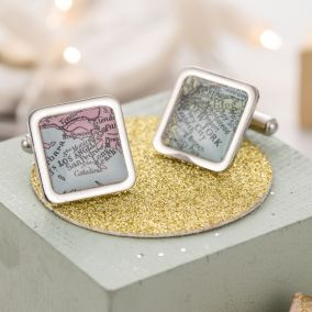 Personalised Square Vintage Map Cufflinks
