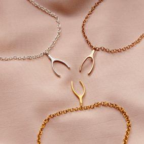 Silver Lucky Wishbone Bracelet