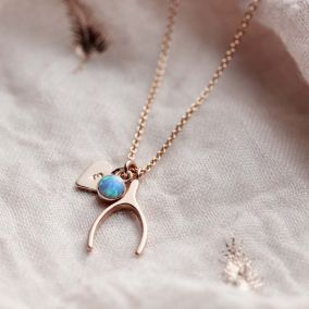 Personalised Wishbone Charm Necklace