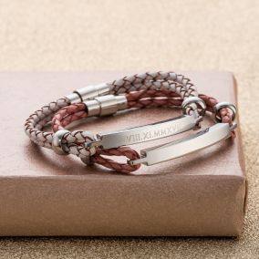 Personalised Women's Braided Leather Cord Bracelet