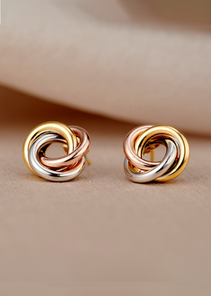mixed gold russian ring stud earrings