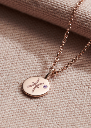 birthstone zodiac necklace on pink material
