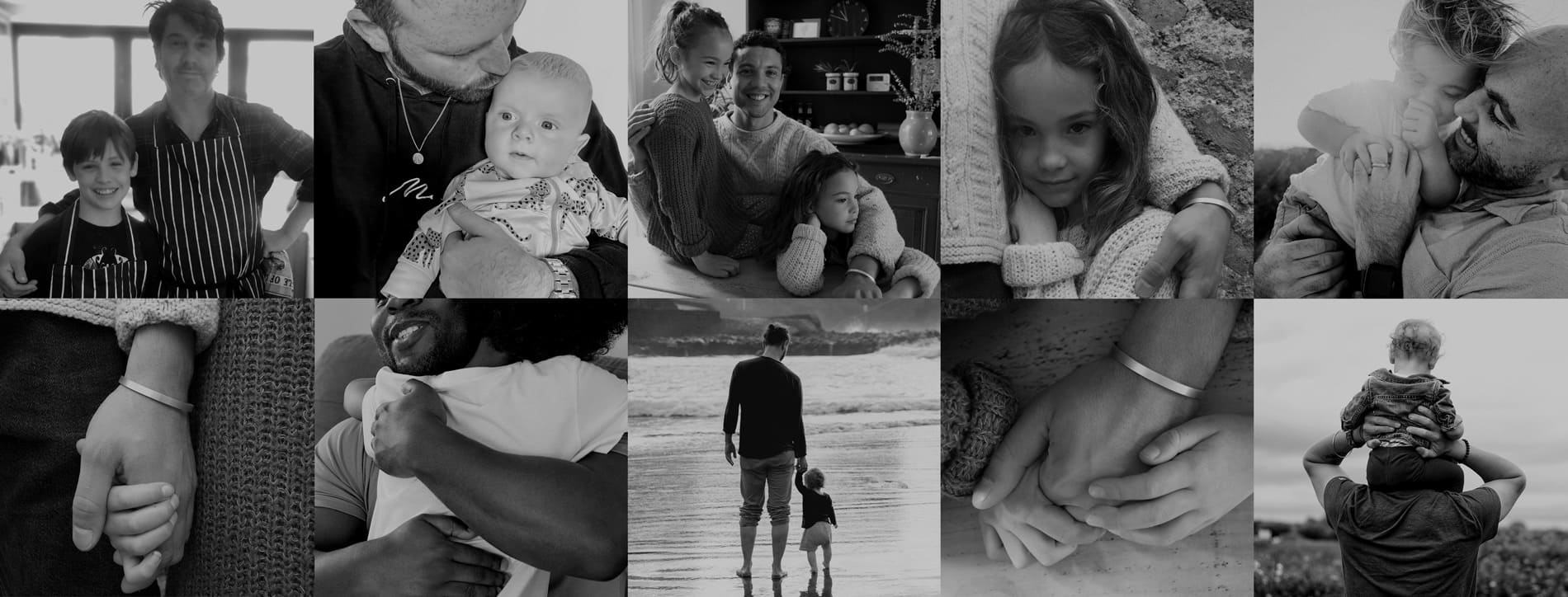 Collection of images of fathers and children in black and white