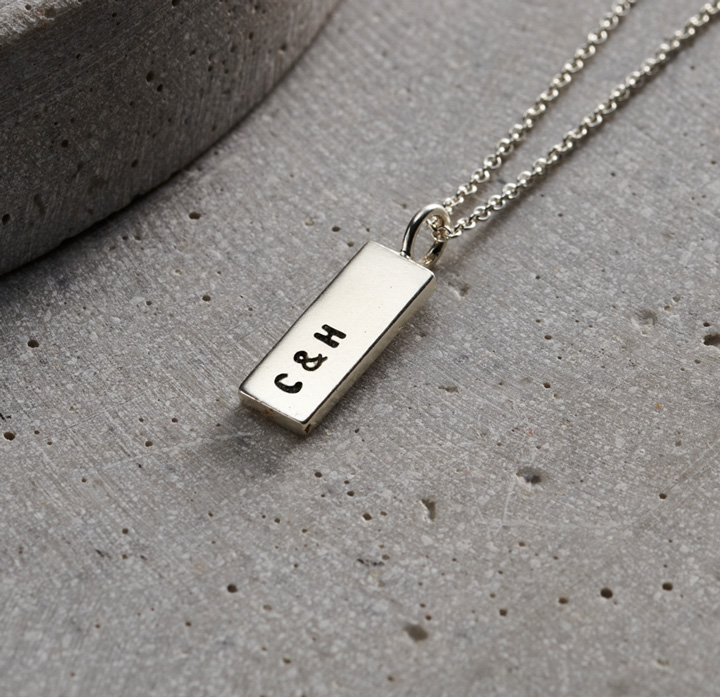 men's silver personalised necklace