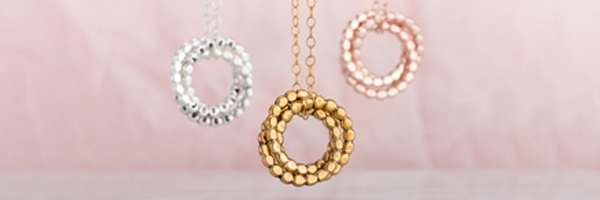silver, gold and rose gold russian ring necklaces