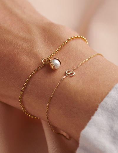 two 9ct gold bangles on a wrist