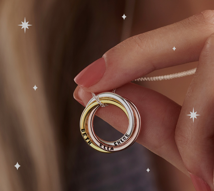 Mixed gold russian ring necklace and stars
