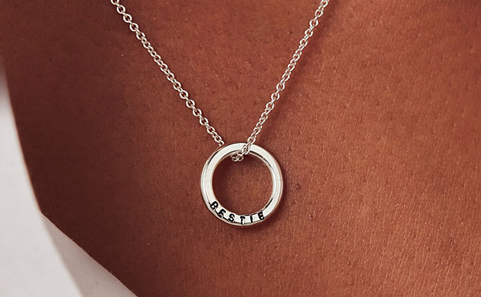 Silver hoop necklace personalised with Bestie