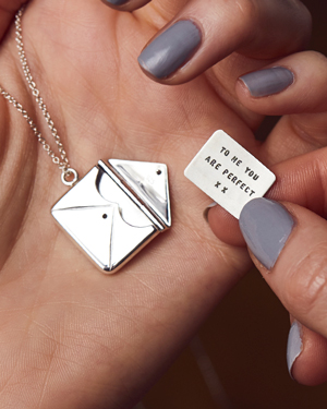 silver letter and envelope necklace