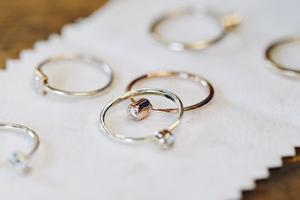 Diamond rings on a jewellery polishing cloth