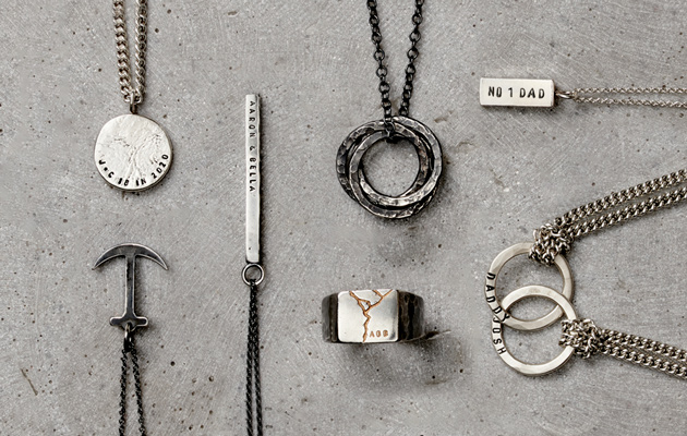 men's silver jewellery laid out