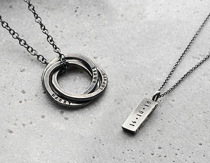 two personalised men's silver necklaces