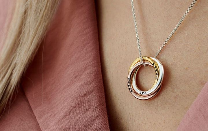 Mixed Gold Russian Ring Necklace