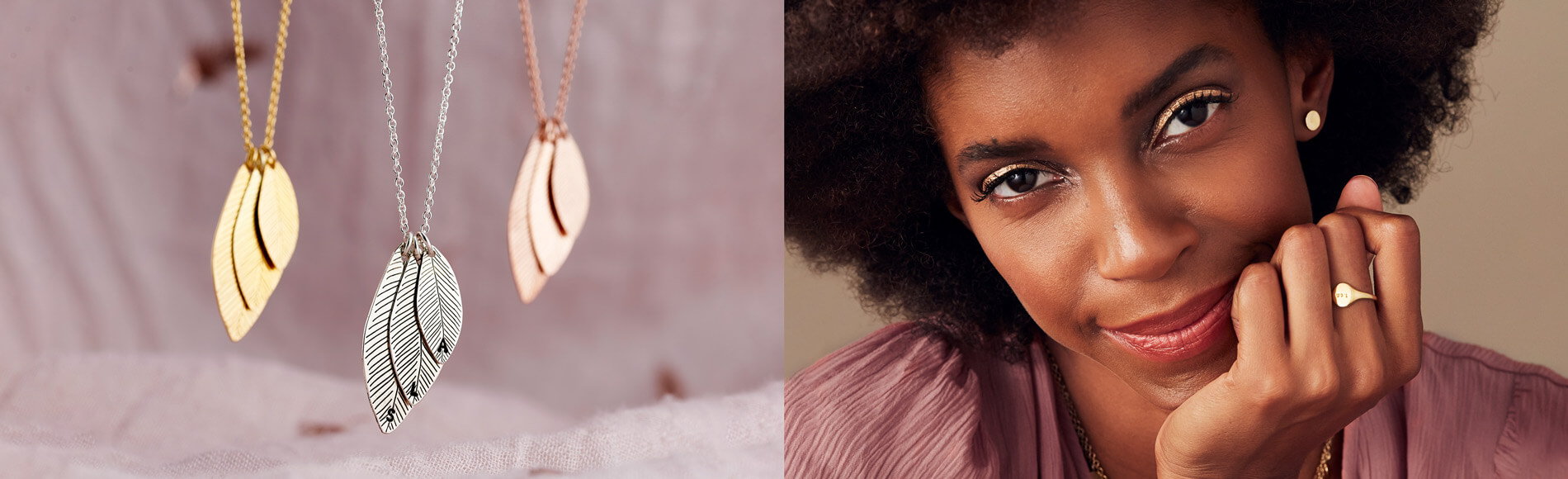 model wearing gold disc initial necklace