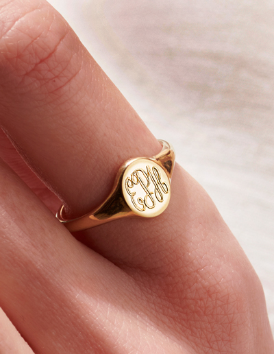 personalised star signet ring