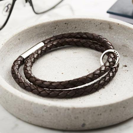 Personalised Men's Silver & Leather Message Bracelet