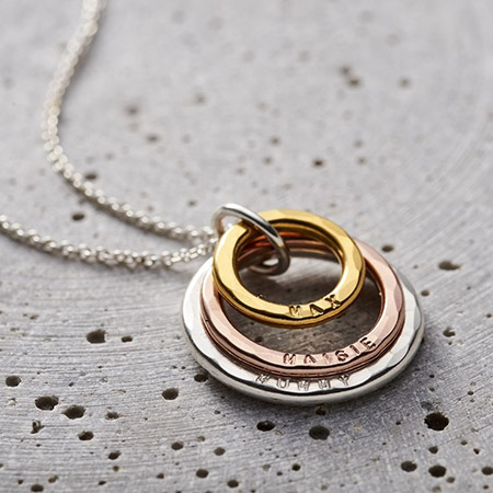 Personalised Mixed Gold Family Names Necklace