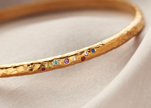 Textured Gold birthstone Bangle
