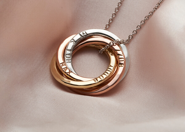 personalised mixed 9ct gold hoop necklace