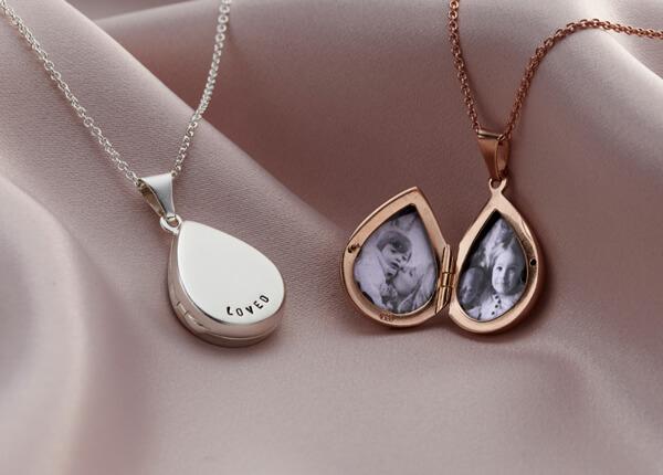 Personalised droplet shaped silver locket