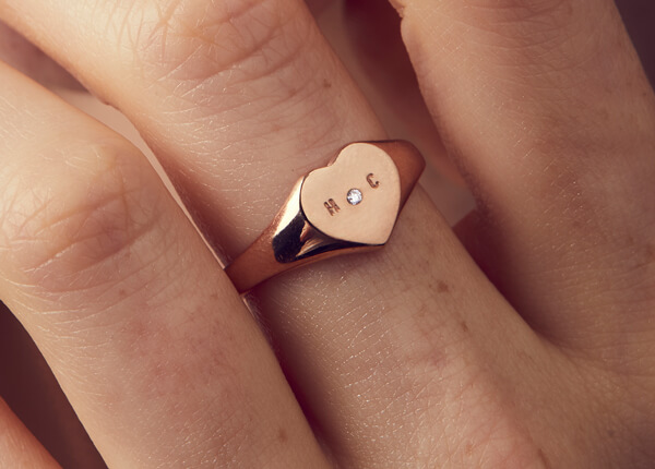 Heart shaped silver signet ring