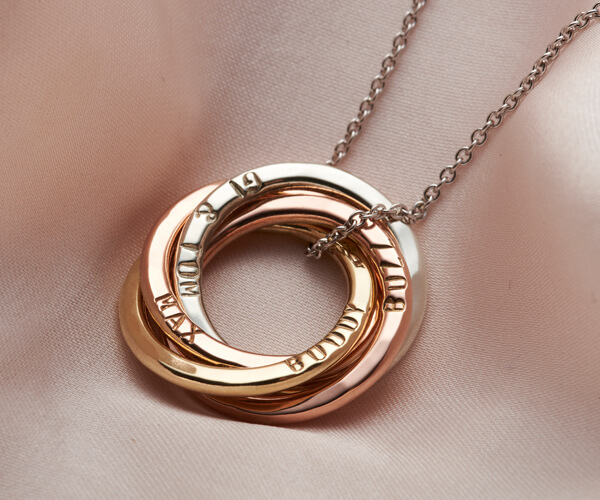 mixed 9ct gold multiple ring personalised necklace