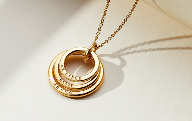 gold plated family names necklace