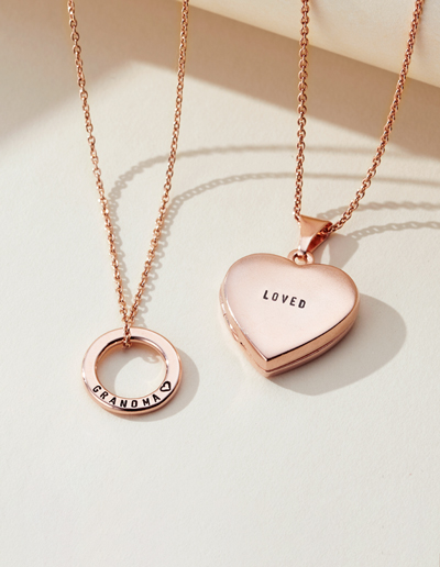 two rose gold personalised plated necklaces