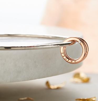 9ct gold and silver mini circle charm bangle