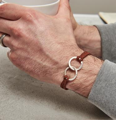 Mens leather silver bracelet